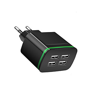 billige Hurtigladere-Bærbar lader USB-lader Eu Plugg Flere utganger 4 USB-porter 2.1 A 100~240 V til Universell