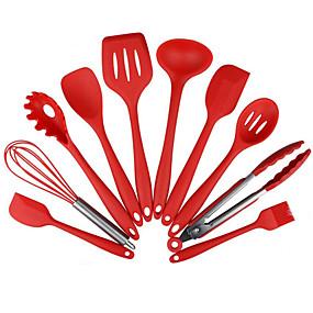 preiswerte Küche & Utensilien-10 stücke antihaft küchengeschirr silikon hitzebeständige küche kochutensilien backwerkzeug kochwerkzeug sets