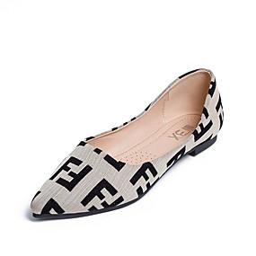 voordelige Damesschoenen met platte hak-Dames Microvezel Lente zomer Informeel Platte schoenen Wandelen Platte hak Gepuntte Teen Kanten stiksel Zwart / Lichtblauw / Amandel / Kleurenblok