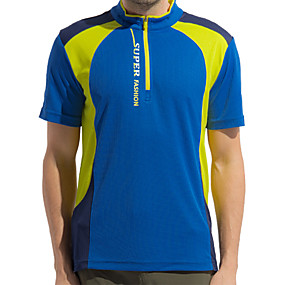 cheap Running & Jogging-Wolfcavalry® Men's Hiking Tee shirt Short Sleeve Crew Neck Tee Tshirt Top Outdoor Quick Dry Breathable Stretchy Sweat wicking Spring Summer Polyester Patchwork Blue Grey Orange Hunting Fishing