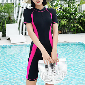 cheap Surfing, Swimming & Diving-Women's Rash Guard Dive Skin Suit Nylon Elastane Diving Suit UV Sun Protection Quick Dry Stretchy Short Sleeve Front Zip Boyleg - Swimming Diving Surfing Snorkeling Patchwork Spring &  Fall Summer