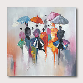 cheap Abstract Paintings-Hand painted Stretched Oil Painting Canvas Ready To Hang Abstract Style Pallet-Knife Streetscape With Stretched Frame