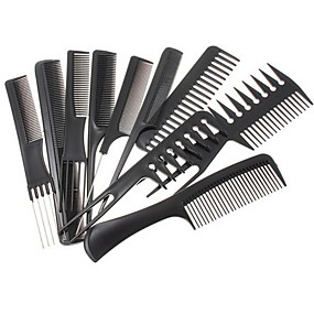 cheap Hair Care & Styling-10pcs  Hair Styling Comb Set Professional Black Brush Barbers