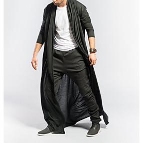 preiswerte Herrenmode-Herrn Alltag Grundlegend EU- / US-Größe Lang Trench Coat, Solide V-Ausschnitt Kurzarm Polyester Schwarz / Grau