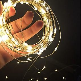 povoljno Svjetlosne trake i žice-10m Žice sa svjetlima 100 LED diode SMD 0603 1pc Toplo bijelo Bijela Crveno Božićni vjenčani ukrasi AA baterije su pogonjene