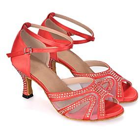 preiswerte Tanzschuhe-Damen Tanzschuhe Kunststoff Schuhe für den lateinamerikanischen Tanz Glitter / Crystal / Strass / Farbaufsatz Absätze Keilabsatz Maßfertigung Dunkelviolett / Rot / Blau / Leistung / Leder