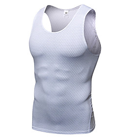 cheap Yoga & Fitness-YUERLIAN Men's Compression Tank Top Summer Print White Red Black Blue Rough Black Fitness Gym Workout Running Base Layer Sleeveless Sport Activewear Quick Dry Lightweight Breathable Sweat wicking