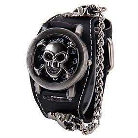 preiswerte Halloween-Uhren-Herrn Uhr Halskettenuhr Quartz Leder Schwarz Punk Totenkopf Analog Totenkopf Modisch Schwarz