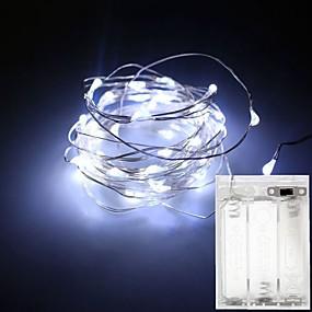 preiswerte Lampen-1 stück 3 mt 30led 4,5 v 3aa batteriebetriebene wasserdichte dekoration led kupferdraht lichter string für weihnachten festival hochzeit