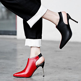 cheap Fashion Boots-Women's PU(Polyurethane) Spring &  Fall / Spring & Summer Sweet / Minimalism Boots Stiletto Heel Pointed Toe Booties / Ankle Boots Black / Red / Party & Evening / Color Block