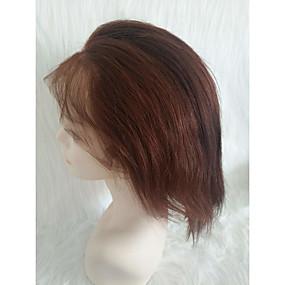 ราคาถูก Short Style Lace Wigs-วิกผมจริง เต็มไปด้วยลูกไม้ วิก ฟรี Part สไตล์ ผมเปรู Straight สีน้ำตาลอ่อน วิก 130% Hair Density ผู้หญิง สำหรับผู้หญิง Short อื่นๆ