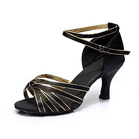 preiswerte Up to 70% off for women's shoes-Damen Tanzschuhe Satin Schuhe für den lateinamerikanischen Tanz Absätze Keilabsatz Maßfertigung Schwarz / Rot / Leopard / Khaki / Leistung / Leder / Praxis