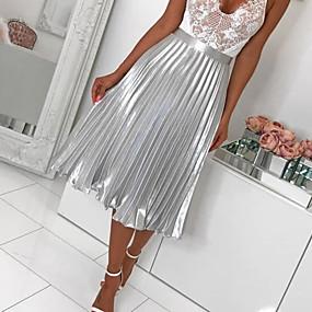 preiswerte Plan Your Summer-Damen A-Linie Röcke - Solide Gefaltet Silber Rosa M L XL