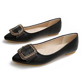 voordelige Damesschoenen met platte hak-Dames PU Lente Platte schoenen Platte hak Gesp Zwart / Rood / Amandel