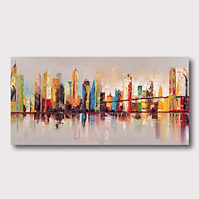 preiswerte Wand- & Ölbilder-Hang-Ölgemälde Handgemalte - Abstrakt Landschaft Zeitgenössisch Modern Fügen Innenrahmen / Gestreckte Leinwand