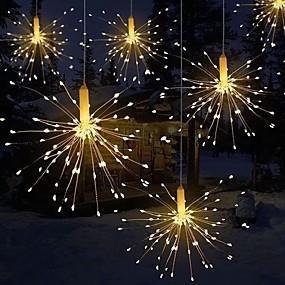 povoljno LED svjetla u traci-0.3M Savitljive LED trake Žice sa svjetlima 90 LED diode 1set Toplo bijelo Ukrasno Csillag Baterije su pogonjene