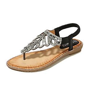 preiswerte Sandalen mit flachen Absätzen-Damen PU Sommer Süß Sandalen Flacher Absatz Offene Spitze Strass Gold / Schwarz / Rosa