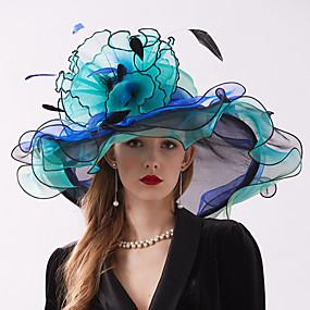preiswerte Essential Accessories-Organza Kopfbedeckung mit Blume / Rüsche 1 Stück Hochzeit / Sport & Natur Kopfschmuck