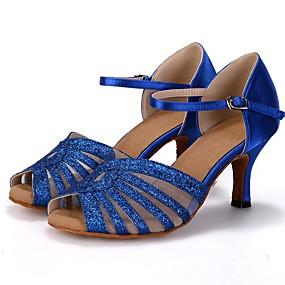 preiswerte Up to 70% off for women's shoes-Damen Tanzschuhe Kunststoff Schuhe für den lateinamerikanischen Tanz Farbaufsatz Absätze Keilabsatz Maßfertigung Gold / Rot / Blau / Leistung / Leder