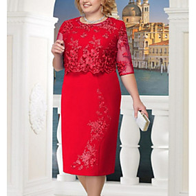 cheap Red Dresses-Women's Plus Size Party For Mother / Mom Shift Dress - Solid Colored Lace Lace Blue Red Navy Blue S M L XL