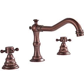 preiswerte Badarmaturen-Waschbecken Wasserhahn - Verbreitete Bronze deckenmontiert Zwei Griffe Drei LöcherBath Taps