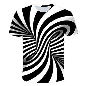 preiswerte Herrenmode-Herrn Gestreift / 3D T-shirt, Rundhalsausschnitt Druck Orange / Kurzarm
