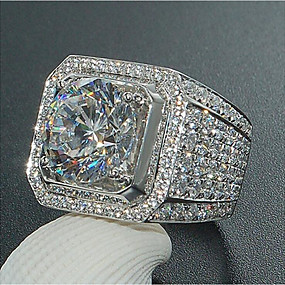 cheap Men's Jewelry New Arrivals-Men's Ring Synthetic Diamond 1pc White Copper Geometric Luxury Big Anniversary Party Evening Jewelry Pave Fashion Rhinestone Cool