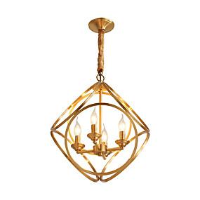 povoljno Stropna svjetla i ventilatori-LightMyself™ 4-Light Cirkularno / Glob / Geometrijski Privjesak Svjetla Ambient Light Brass Metal 220-240V / 100-120V