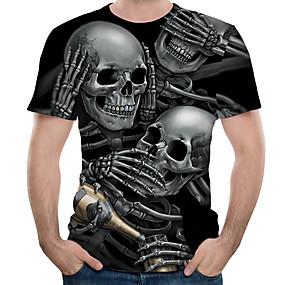 cheap Athleisure Wear-Men's Tee T shirt Shirt Graphic 3D Skull Print Short Sleeve Casual Tops Basic Designer Big and Tall Round Neck Black