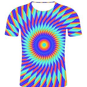 preiswerte Herrenmode-Herrn Gestreift / 3D / Grafik - Rockig / Übertrieben Übergrössen Baumwolle T-shirt, Rundhalsausschnitt Druck Regenbogen