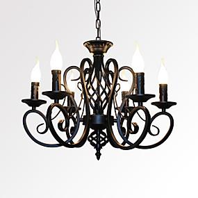 povoljno Stropna svjetla i ventilatori-6-Light Svijeća stilu Lusteri Ambient Light Slikano završi Metal svijeća Style 110-120V / 220-240V / E12 / E14