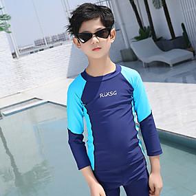 cheap Kid's-Boys' Rash Guard Dive Skin Suit Elastane Swimwear UV Sun Protection Quick Dry Long Sleeve 2-Piece - Swimming Patchwork Spring Summer / High Elasticity / Kid's
