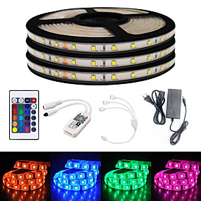 cheap WiFi Control-50ft 3*5 Meters Smart WIFI LED Light Strips RGB Tiktok Lights SMD 2835 8mm Light With 24 Keys Controller 900LED  Not Waterproof   With DC12V 3A EU Power