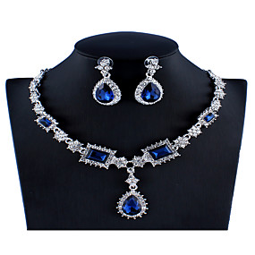 cheap Party Evening-Women's Blue Red Gray Crystal Bridal Jewelry Sets Geometrical Pear Luxury Fashion Rhinestone Earrings Jewelry Red / Dark Blue / Gray For Wedding Engagement 1 set