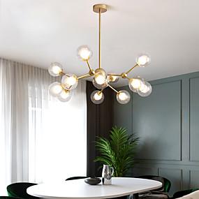 baratos Lustres-12 lâmpadas lustre de 90 cm de metal vidro pintado industrial com acabamentos estilo nórdico moderno 110-120v 220-240v