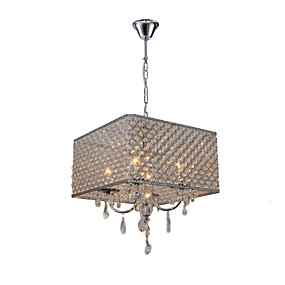 "cheap Ceiling Lights & Fans-QINGMING® 4-Light 43(17"") Crystal Chandelier Metal Drum Painted Finishes Modern Contemporary 110-120V / 220-240V"