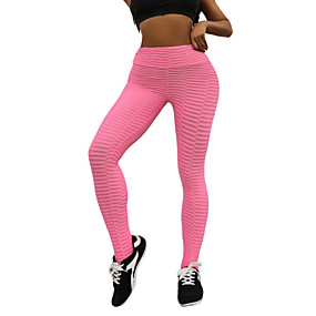 cheap Yoga & Fitness-Women's Yoga Pants Solid Color Elastane Running Fitness Gym Workout Tights Leggings Bottoms Activewear Moisture Wicking Butt Lift Tummy Control Power Flex High Elasticity Skinny