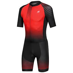 cheap Cycling & Motorcycling-Nuckily Men's Short Sleeve Triathlon Tri Suit Black / Red Gradient Bike Breathable Sports Spandex Geometric Mountain Bike MTB Road Bike Cycling Clothing Apparel / Micro-elastic
