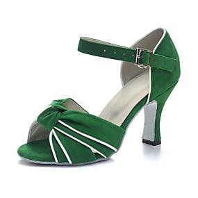 preiswerte Up to 70% off for women's shoes-Damen Tanzschuhe Kunstleder Schuhe für den lateinamerikanischen Tanz Absätze Kubanischer Absatz Maßfertigung Grün / Leistung / Leder / Praxis