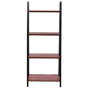 preiswerte Wohnzimmermöbel-Bücherschrank im Leiter-Stil mit 4 Regalen aus schwarzem Walnussholz