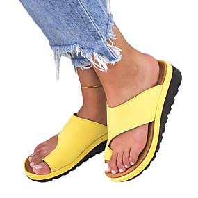 cheap Fashion Slippers-Women's PU(Polyurethane) Summer Casual / Minimalism Slippers & Flip-Flops Wedge Heel Round Toe Yellow / Silver / Leopard