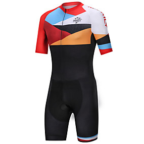cheap Cycling & Motorcycling-Nuckily Men's Triathlon Tri Suit Black / Orange Bike Clothing Suit Windproof Breathable Quick Dry Sports Spandex Geometric Mountain Bike MTB Road Bike Cycling Clothing Apparel / Micro-elastic
