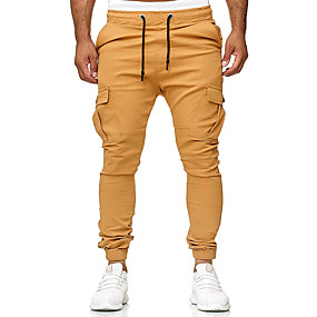 cheap Running & Jogging-Men's Running Pants Track Pants Sports Pants Beam Foot with Side Pocket Sports Winter Pants / Trousers Cargo Pants Fitness Gym Workout Quick Dry Solid Colored Black Dark Grey White Yellow