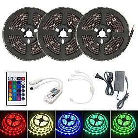 cheap WiFi Control-15M Smart LED Light Strips RGB Tiktok Lights TV Background Light WIFI SMD 5050 10mm 24Keys 450LED IP65 Waterproof DC5V With 5A US