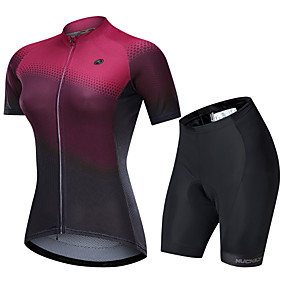 cheap Women-Nuckily Women's Short Sleeve Cycling Jersey with Shorts Summer Spandex Polyester Black / Red Gradient Bike Clothing Suit Quick Dry Breathable Back Pocket Sports Gradient Mountain Bike MTB Road Bike