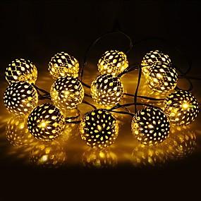 abordables Reste à la maison-1 set led lanterne solaire guirlande lumineuse 10m 50 lumière boule marocaine boule de fer boule de lumière extérieure imperméable décoration de jardin lumière