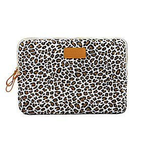 cheap Free shipping-13.3 14 15.6 Leopard Pattern Canvas Floral Print Shock Proof Laptop Cover Sleeves Shakeproof Case for Surface/Macbook/HP/Dell/Samsung/Sony Etc
