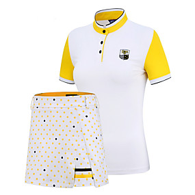 cheap Golf, Tennis & Badminton-PGM Women's Tennis Golf Running Clothing Suit Color Block Spot UV Resistant Breathable Quick Dry Autumn / Fall Spring Summer Athleisure Outdoor / Short Sleeve / Stretchy / Moisture Wicking