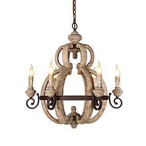 povoljno Lámpatestek-6 svjetiljki vintage luster za svijeće / drvena retro svjetla za kafić dnevna soba svjetla za trpezariju / e12 / e14 led 5w žarulja uključena k9 kristal