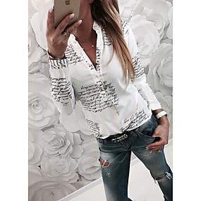 preiswerte Damenbekleidung-Damen Buchstabe - Grundlegend Hemd, Hemdkragen Schlank Weiß / Frühling / Herbst